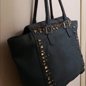 Bags - Beautiful Bejeweled Dark Turquoise Tote Handbag